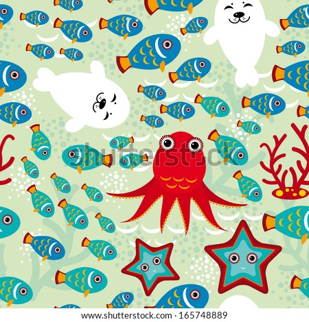 Seamless pattern with fish, sea lions, octopus, starfish, corals in the background water.  - stock photo