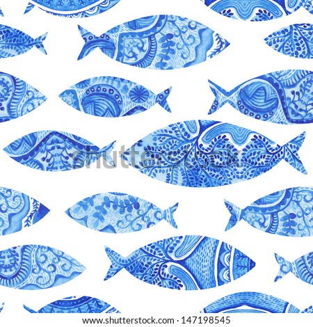 seamless pattern with fishes, watercolor hand painted background, watercolor fish, seamless background with stylized blue fish.Wallpaper, watercolor fabric, blue wrapping ornaments  - stock photo