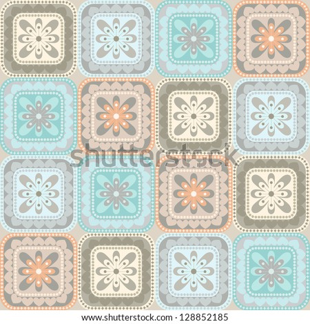 Seamless pattern with floral and geometrical ornament. Decorative background in pastel colors - stock photo