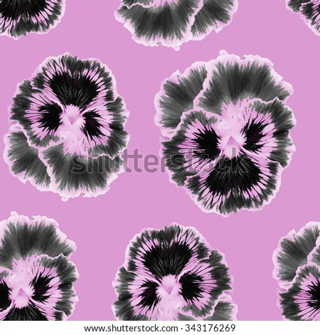 Seamless pattern with floral background. Pansies  flower. Pansies seamless pattern - stock photo