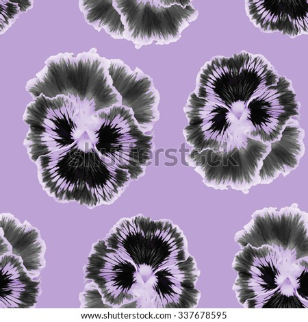 Seamless  pattern with floral background. Pansies  violet flower. Watercolor pansies seamless  pattern - stock photo