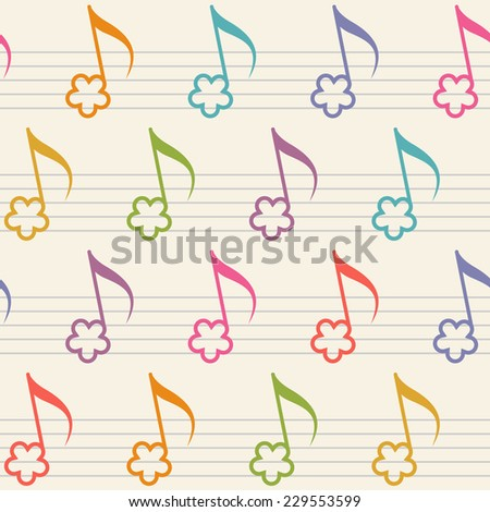 Seamless pattern with flower notes. Musical background in childish style. Illustration with concept of merry melody for print, web - stock photo
