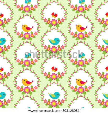 Seamless pattern with flowers and birds. Raster version - stock photo