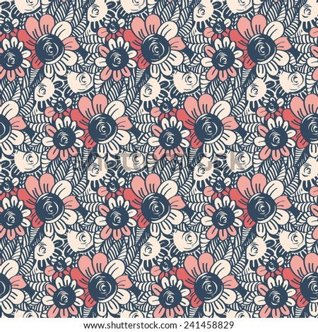 Seamless pattern with flowers and leaves.  - stock photo