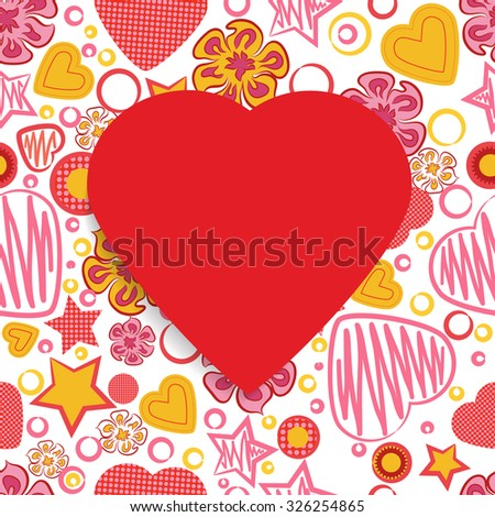 Seamless Pattern with Flowers, hearts, stars and a Red Paper Heart Symbol in the middle. Happy Valentine's Day. - stock photo