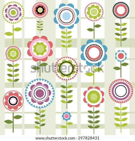 seamless pattern with flowers. Raster version - stock photo
