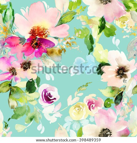 Seamless pattern with flowers watercolor. Gentle colors. Female pattern. Handmade. - stock photo