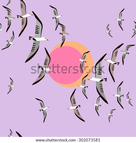 Seamless pattern with flying seagulls and sun. - stock photo