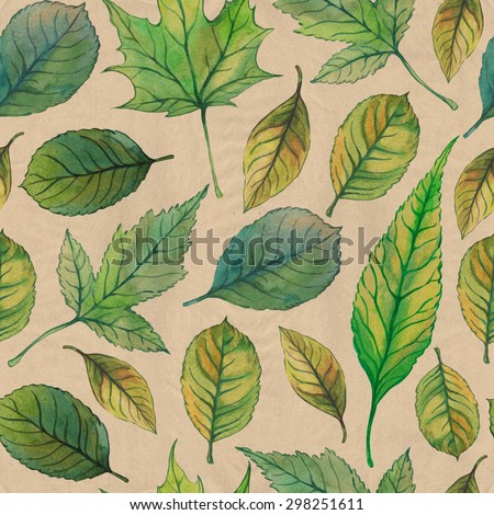 Seamless pattern with foliage. Watercolor
