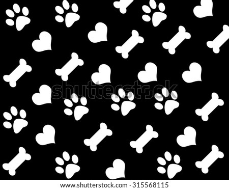 seamless pattern with  footprints and bones - stock photo