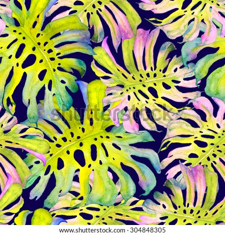Seamless pattern with frangipani leaves. Textile pattern with tropical modern flowers.