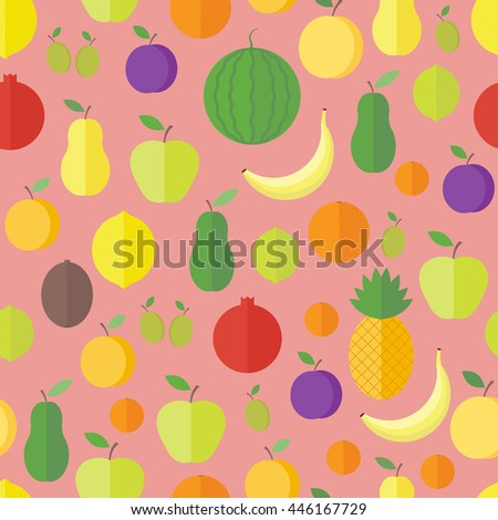 Seamless pattern with fresh fruits and berries