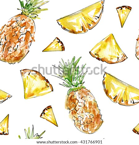 Seamless pattern with fruit.Pineapple and pineapple slices.Food picture.Watercolor hand drawn illustration.White background. - stock photo