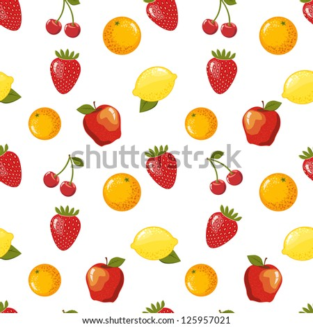 Seamless pattern with fruits. Raster version, vector file available in portfolio. - stock photo