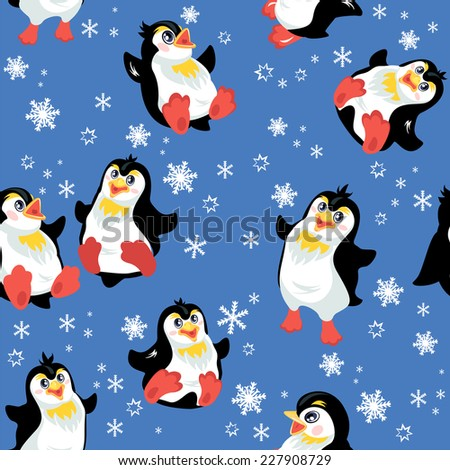 Seamless pattern with funny penguins and snowflakes on blue background, design for winter, Christmas or New Year themes. Raster version - stock photo