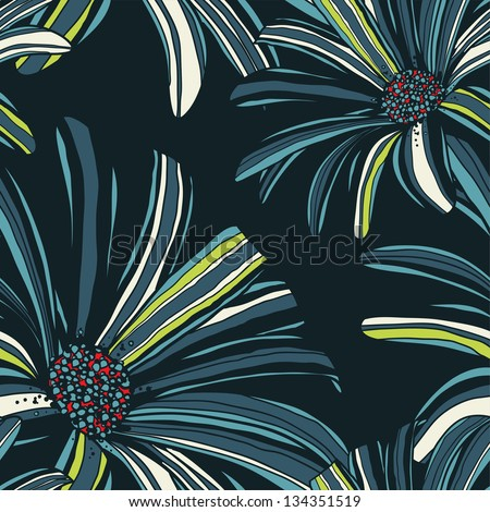 Seamless pattern with gerbera flowers.  Raster version of vector. - stock photo