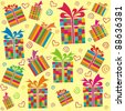 seamless pattern with gift boxes - stock photo