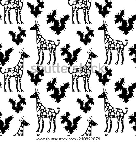 Seamless Pattern with Giraffes and Cactus in Black and White. Endless Print Texture. Hand Drawing. Cartoon Style. Fabric design. Wallpaper - raster version  - stock photo