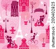 Seamless pattern with girls riding on scooter and bicycle, houses silhouettes and town landscape with Effel Tower on a pink floral background.  Ready to use as swatch.  Raster version - stock photo