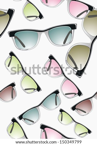 Seamless pattern with glasses - stock photo