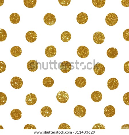Seamless pattern with gold glitter circles. - stock photo