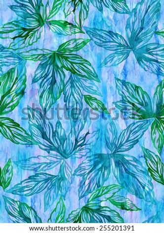 seamless pattern with grape leaves foliage.  - stock photo