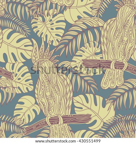 Seamless pattern with graphic cockatoo parrot on a branch with t - stock photo