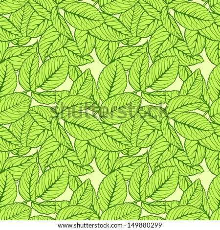 Seamless pattern with green leafs - stock photo