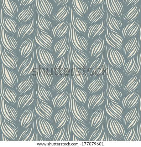 Seamless pattern with grey braids. Background in form of hairstyle in plaits. Ornamental illustration of yarn or knitted fabric close-up - stock photo