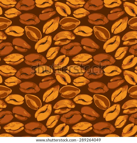 Seamless pattern with grunge aquarelle coffee beans. Background design in brown colors for cafe or restaurant menu.  Raster version - stock photo
