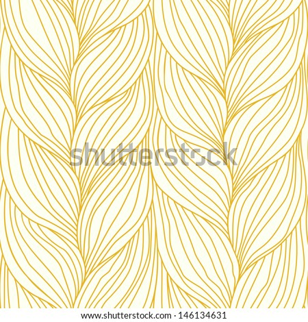 Seamless pattern with hairstyle of light brown plaits. Abstract illustration of interweaving of braids. Ornamental decorative background in form of a knitted fabric. Stylized textured yarn close-up - stock photo