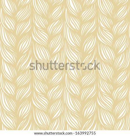 Seamless pattern with hairstyle of light brown plaits. Abstract illustration of interweaving of braids. Decorative textured yarn close-up. Ornamental background in the shape of a knitted fabric  - stock photo