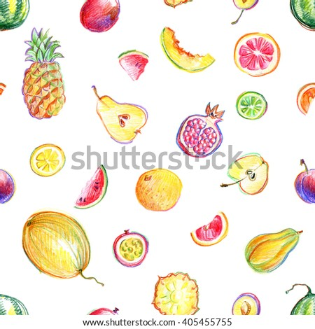 Seamless pattern with hand drawn by color pencil bright stylish fruits