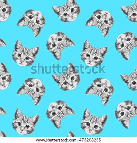 Seamless pattern with hand-drawn Cat.