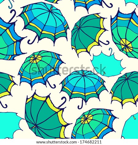 Seamless pattern with hand drawn decorative colorful umbrellas