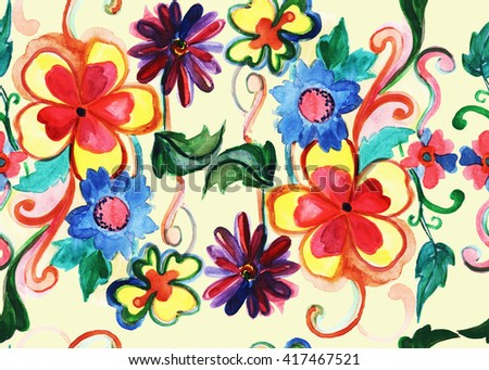 Seamless pattern with hand drawn watercolor bouquet in bright colors.