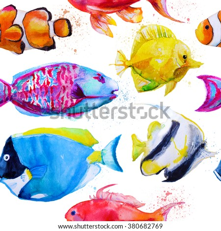 seamless pattern with hand drawn watercolor tropical fish - stock photo