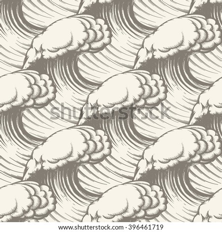 Seamless pattern with hand drawn waves.   - stock photo