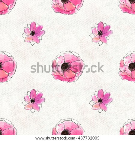 Seamless pattern with Hand Painted flowers. Floral watercolor background.