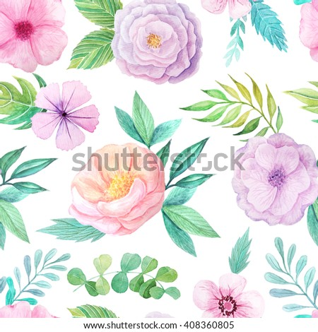 Seamless pattern with hand painted watercolor flowers and leaves in pastel colors inspired by garden plants. Romantic floral background perfect for fabric textile, vintage paper or scrapbooking - stock photo