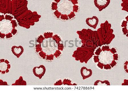 Seamless Pattern Handmade Crochet Flowers Leaves Stock Illustration