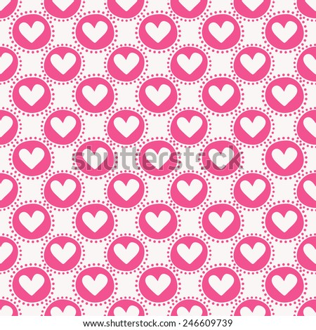 Seamless pattern with hearts and circles. Love and romantic themes. Raster illustration. - stock photo