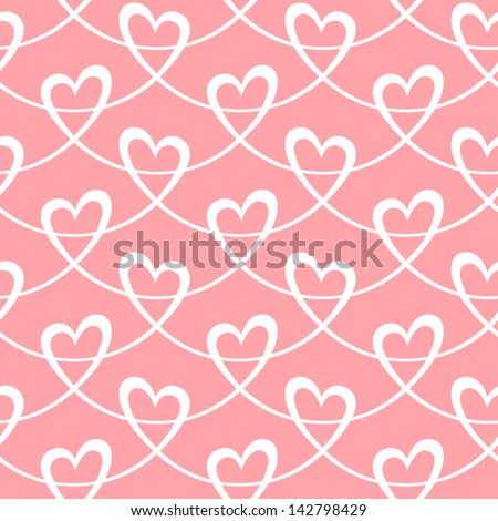 Seamless pattern with hearts of stylized ribbon. Romantic light pink decorative background Valentine's Day, wedding. Simple cute abstract ornamental illustration for paper, textile, print, web - stock photo