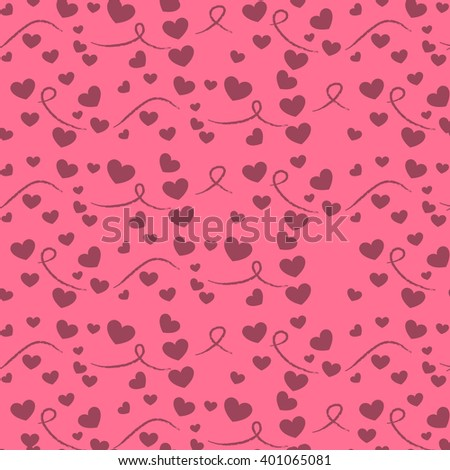 seamless pattern with hearts on a pink background