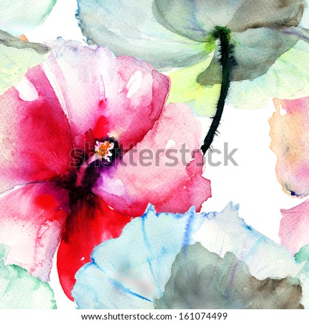 Seamless pattern with Hibiscus flower,watercolor painting  - stock photo