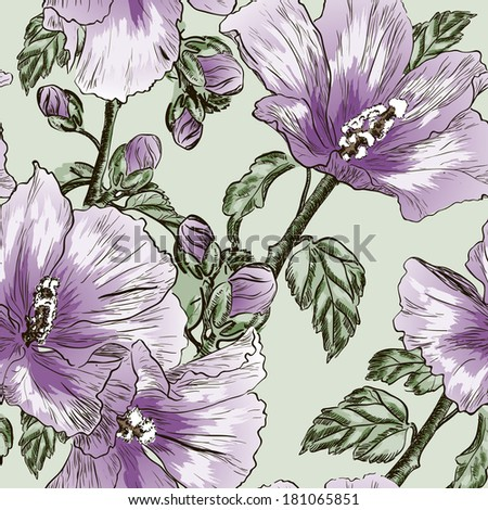 seamless pattern with Hibiscus flowers. Raster version - stock photo