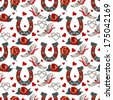 Seamless pattern with horseshoe with floral ornament, rose, swallow and hearts - stock photo