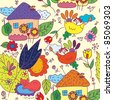 Seamless pattern with houses, flowers, birds - stock photo