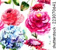 Seamless pattern with Hydrangea and Peony flowers, watercolor illustration  - stock photo