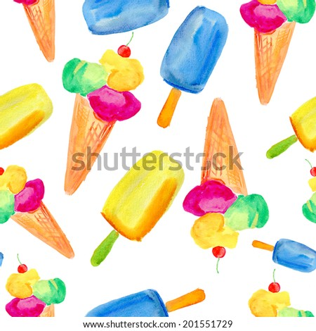 Seamless pattern with ice cream waffle cones. Watercolor illustration on texture paper.  - stock photo